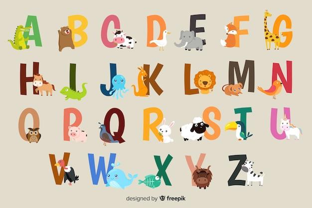 Animal alphabet on a grey background Free Vector