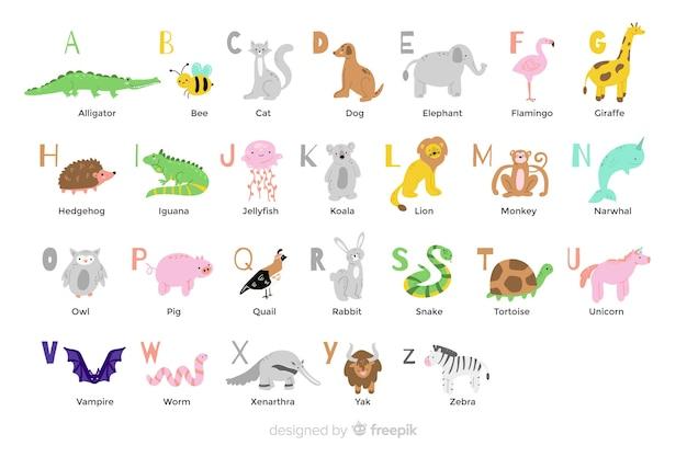 Животный алфавит в плоском дизайне Бесплатные векторы
