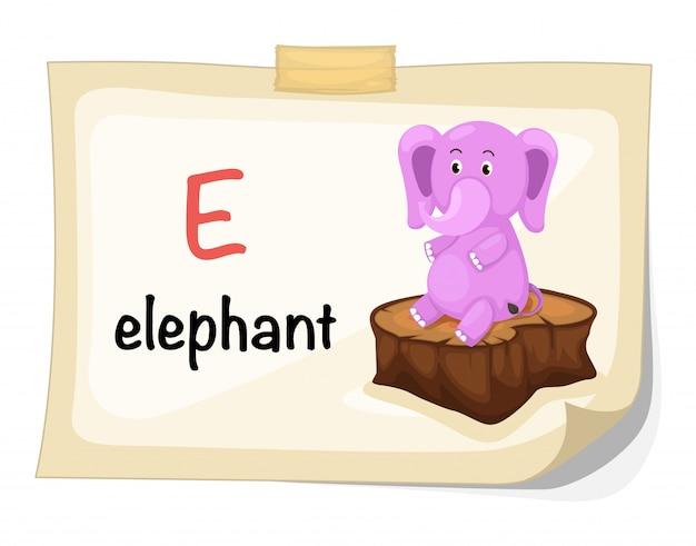 Animal alphabet letter e for elephant illustration vector Premium Vector