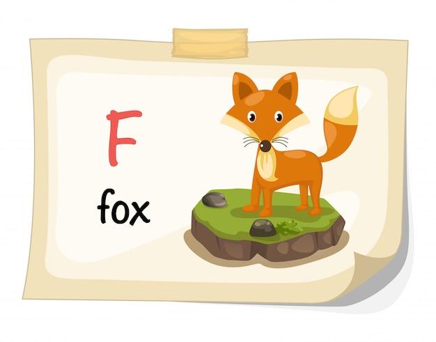 Animal alphabet letter f for fox illustration vector Premium Vector