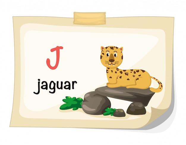 Animal alphabet letter j for jaguar illustration vector Premium Vector