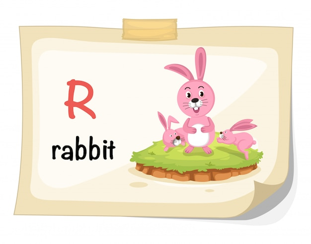 Animal alphabet letter r for rabbit illustration vector Premium Vector