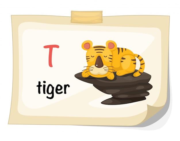 Animal alphabet letter t for tiger illustration vector Premium Vector