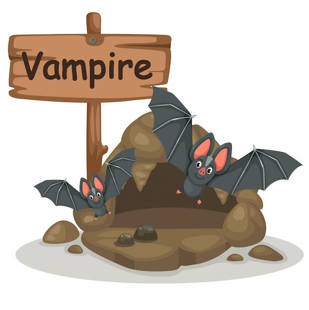 Animal alphabet letter v for vampire Premium Vector