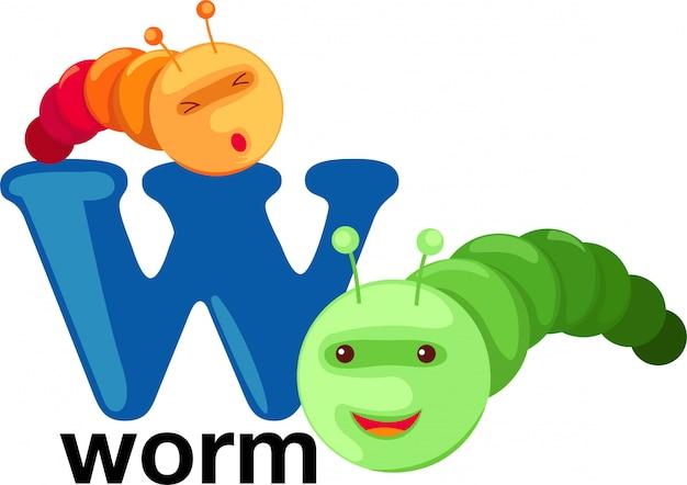 Animal alphabet letter - w Premium Vector