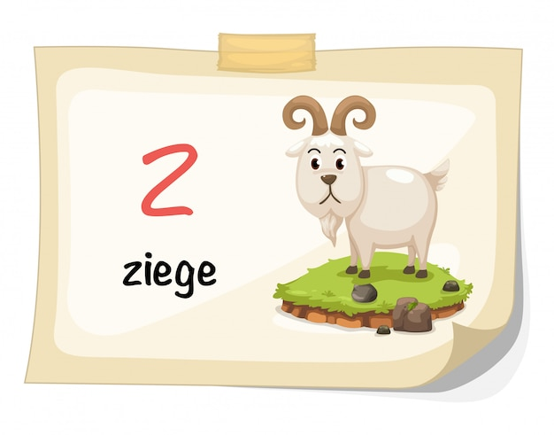 Animal alphabet letter z for ziege illustration vector Premium Vector