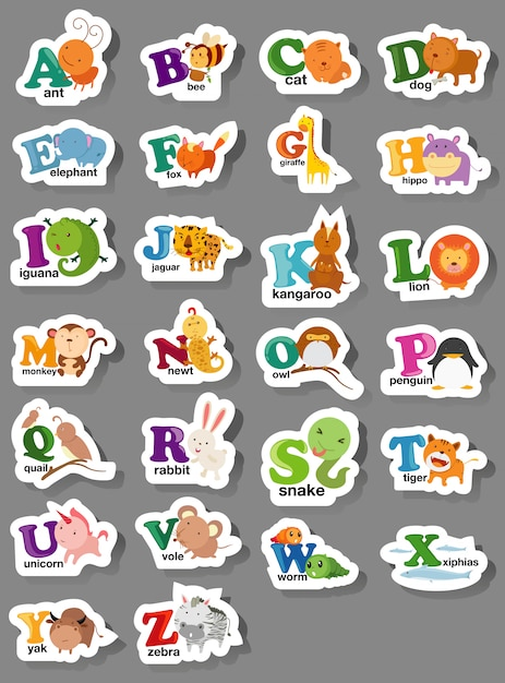 Animal alphabet letter a-z Premium Vector
