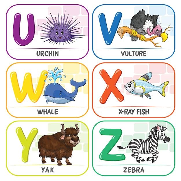 Animal alphabet u v w x y z Premium Vector