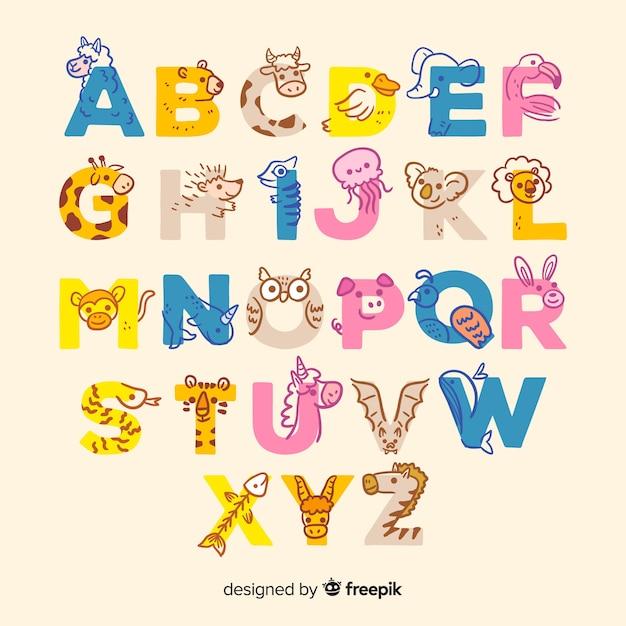 Животный алфавит с милыми буквами Бесплатные векторы