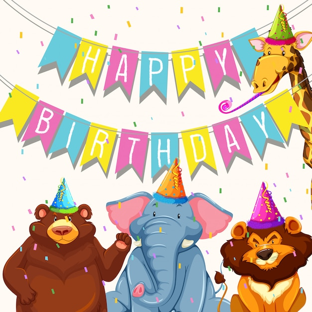 Animal on birthday party template Free Vector