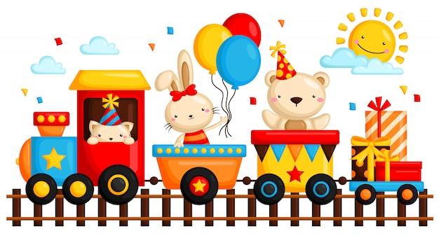 Animal in birthday train Premium Vector