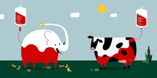 Animal blood donation vector illustration Free Vector