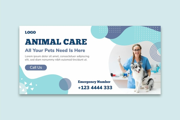 Animal care banner template Free Vector