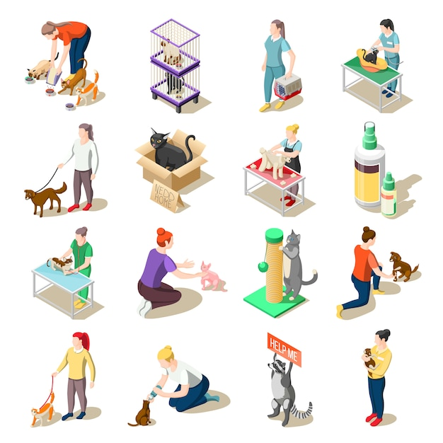 Animal care volunteers isometric icons Free Vector
