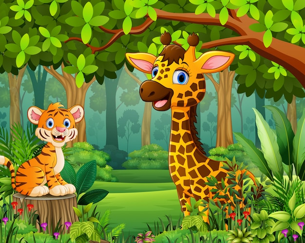 Animal cartoon in the beautiful green forest landscape Premium Vector