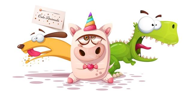 Animal cartoon characters Premium Vector