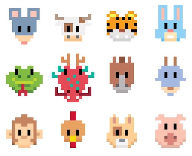 Animal Cartoon Pixel Art Vector Premium Download