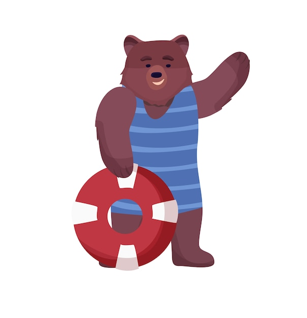 Animal character brown, lifeguard bear in a swimsuit, life suit and lifebuoy on a white background. Premium Vector