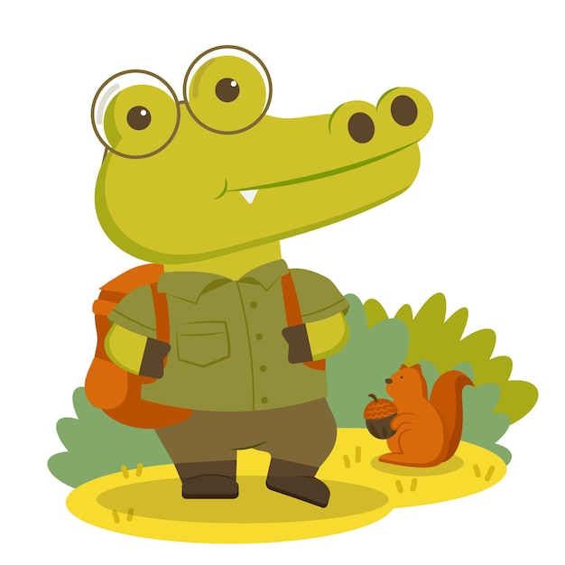 Animal character crocodile wearing hiking clothes and comfortable backpack. Free Vector