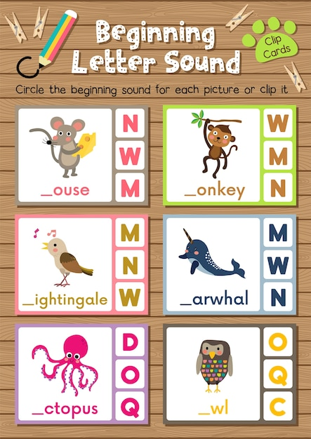 Animal clip cards matching game of beginning letter sound Premium Vector