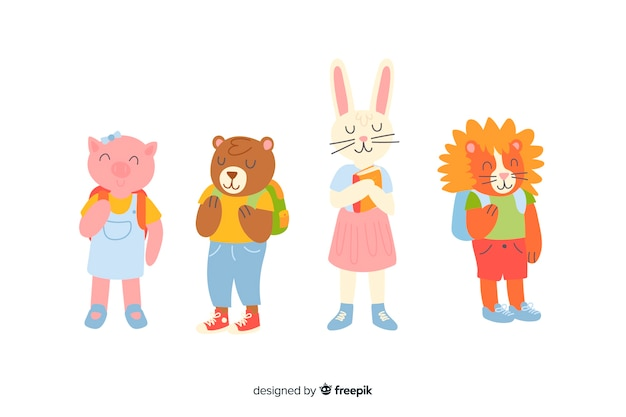 Animal collection for back to school celebration Free Vector