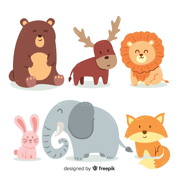 Animal collection in children's design Free Vector