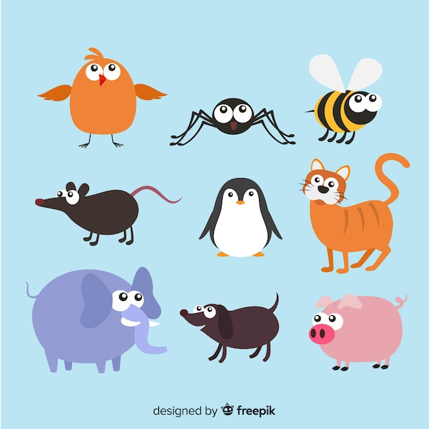 Animal collection in children's style Free Vector