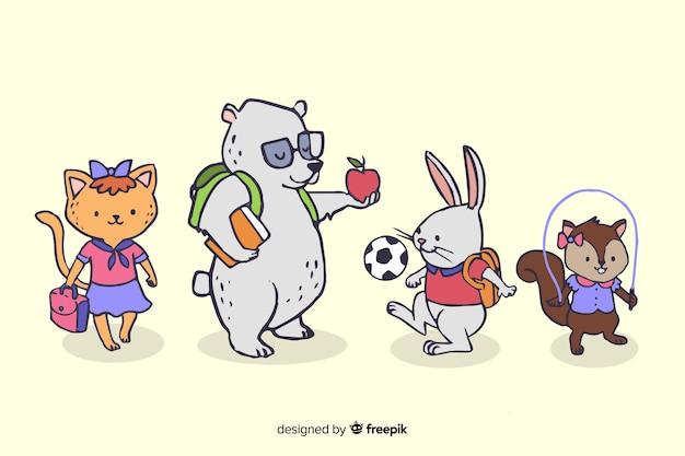 Collezione di animali con il concetto di ritorno a scuola Vettore gratuito