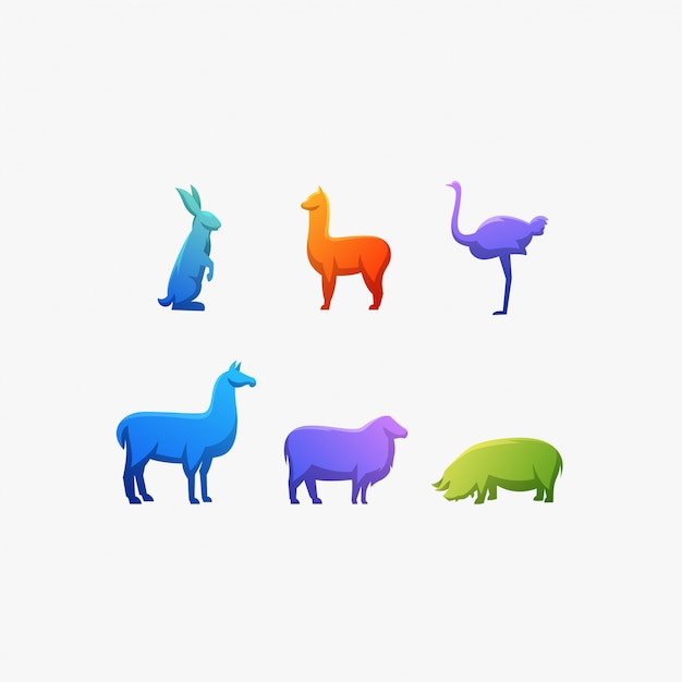 Animal color ostrich,rabbit,llama,alpaca,pig,illustration vector logo. Premium Vector