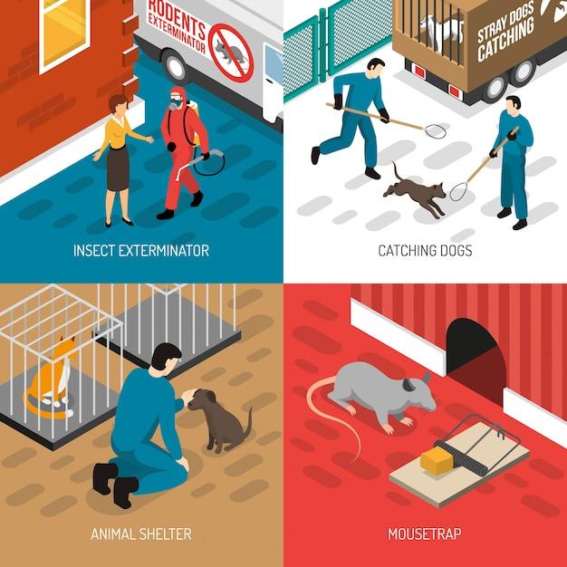 動物制御等尺性デザインコンセプト 無料ベクター