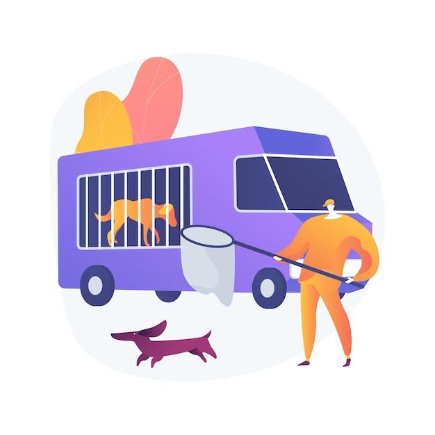 Illustrazione di concetto astratto di servizio di controllo degli animali. controllo della popolazione animale, servizio di soccorso, cattura di cani e gatti randagi, rimozione di cadaveri, problemi urbanistici Vettore gratuito