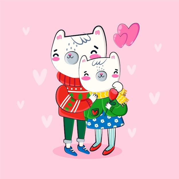 Animal couple hand drawn valentine background Free Vector