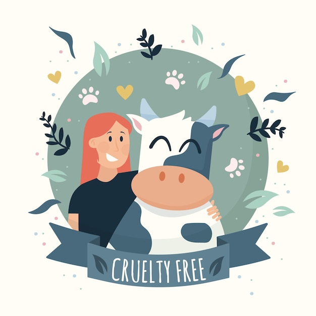 Animal cruelty free woman and cow Free Vector