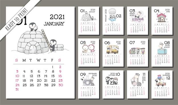 Набор шаблонов милого календаря для животных на 2021 год Premium векторы