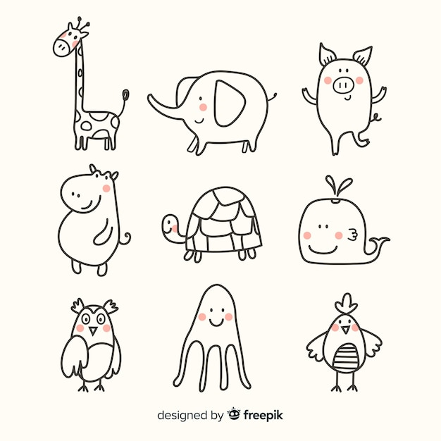 Animal cute collection flat design Premium Vector