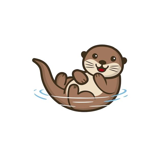 동물 귀여운 수달 그림 프리미엄 벡터
