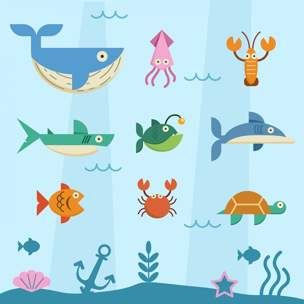 Animal in deep sea flat character set. Premium Vector