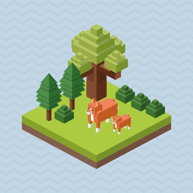 Animal design. isometric. nature concept Premium Vector