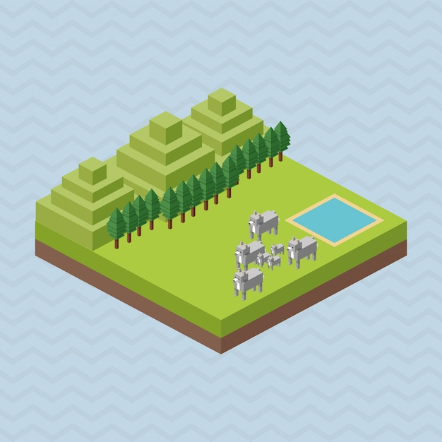 Animal design. isometric. nature concept Premium Vector