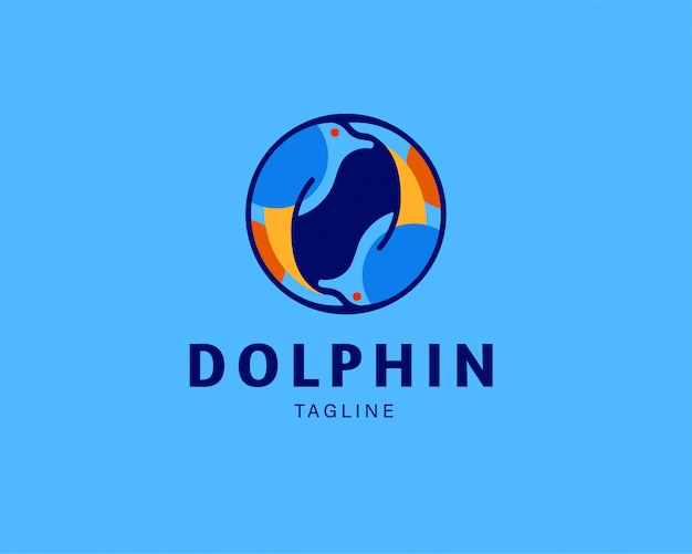 Animal dolphin vector icon logo Premium Vector