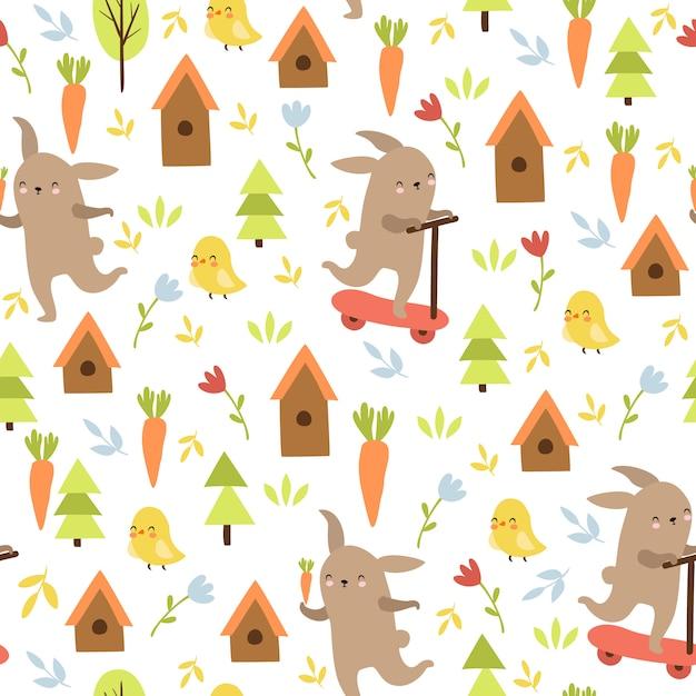 Modello animale doodle, lepre, pollo Vettore gratuito