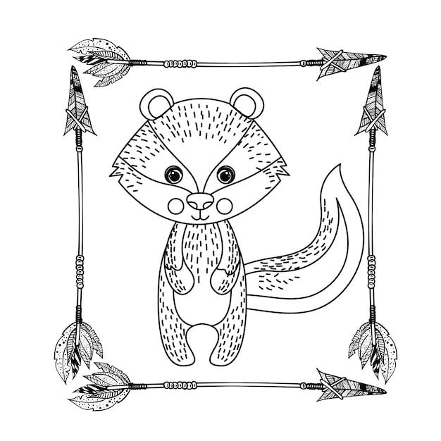 Animal drawing style boho icon vector illustration graphic Premium Vector
