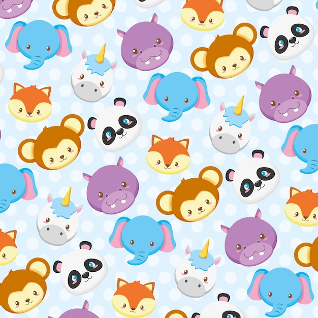Animal faces collection Free Vector