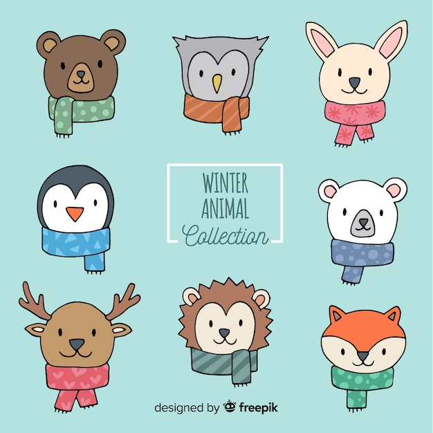 Animal faces winter collection Free Vector