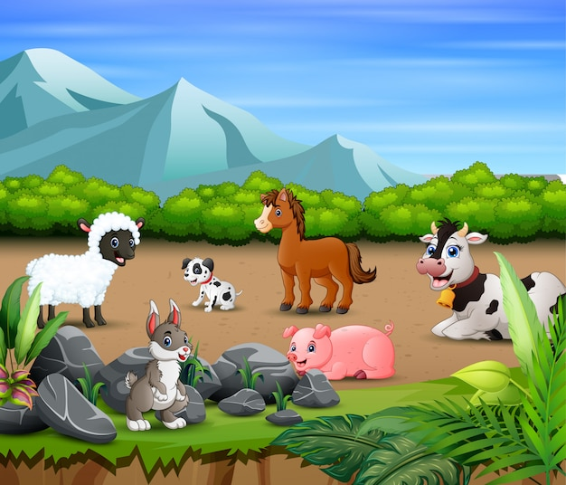 Animal farm relaxing in the nature Premium Vector