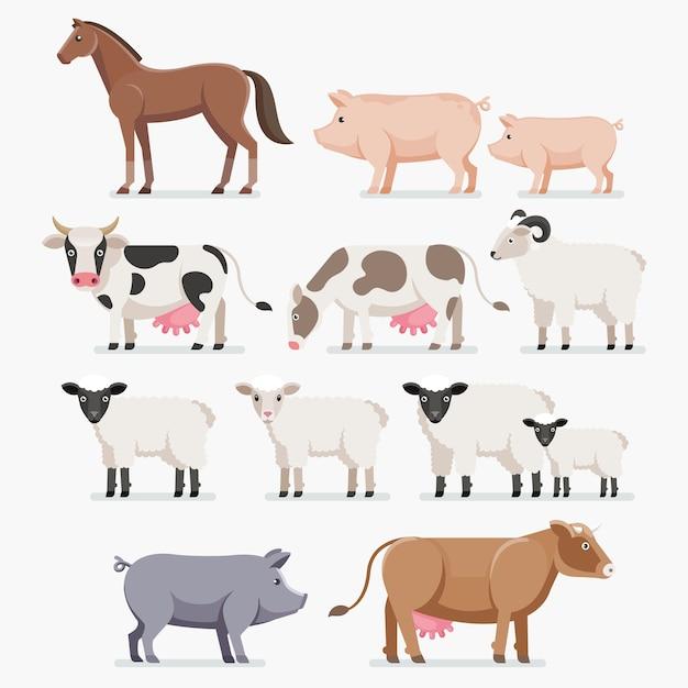 Набор животных фермы. лошадь, свинья, корова, коза и овца. Premium векторы