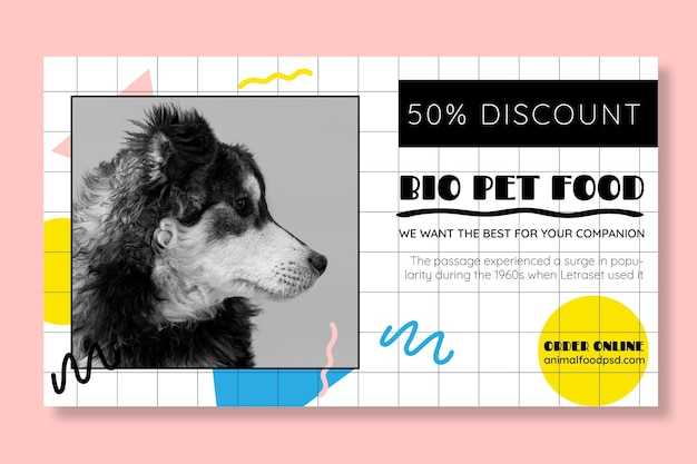 Шаблон баннера для животных Бесплатные векторы