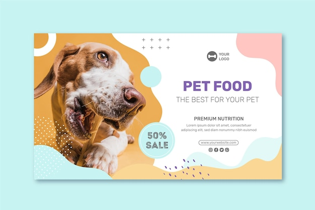 Animal food banner template Free Vector