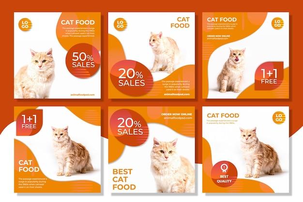 Animal food instagram posts Free Vector