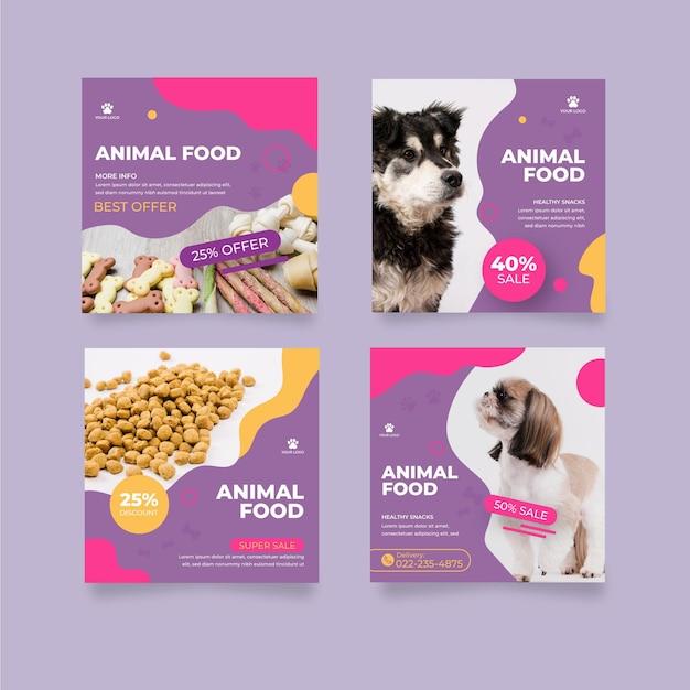 Post di instagram di cibo per animali Vettore gratuito
